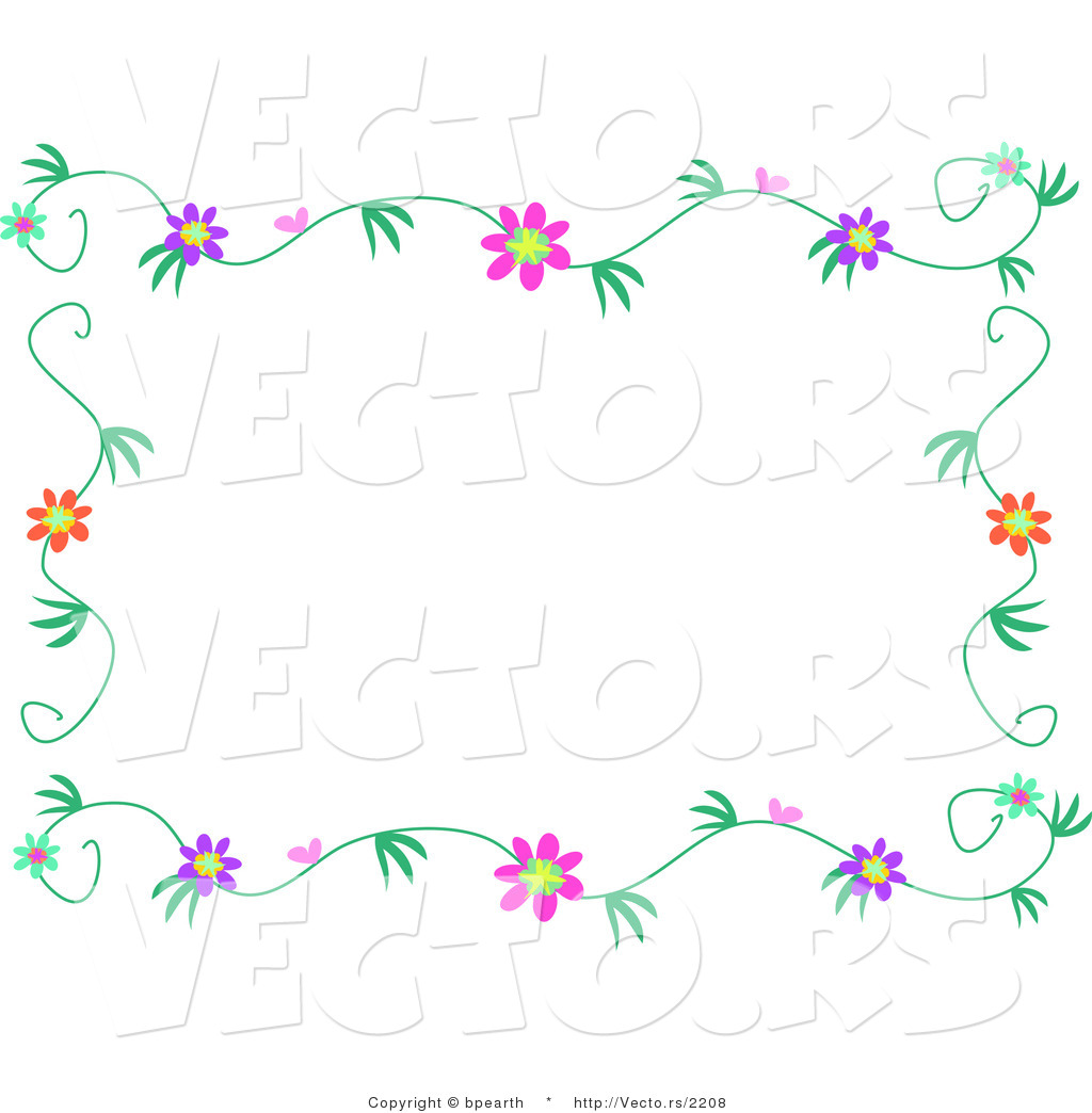flowers with vines border design colorful flowering vines border