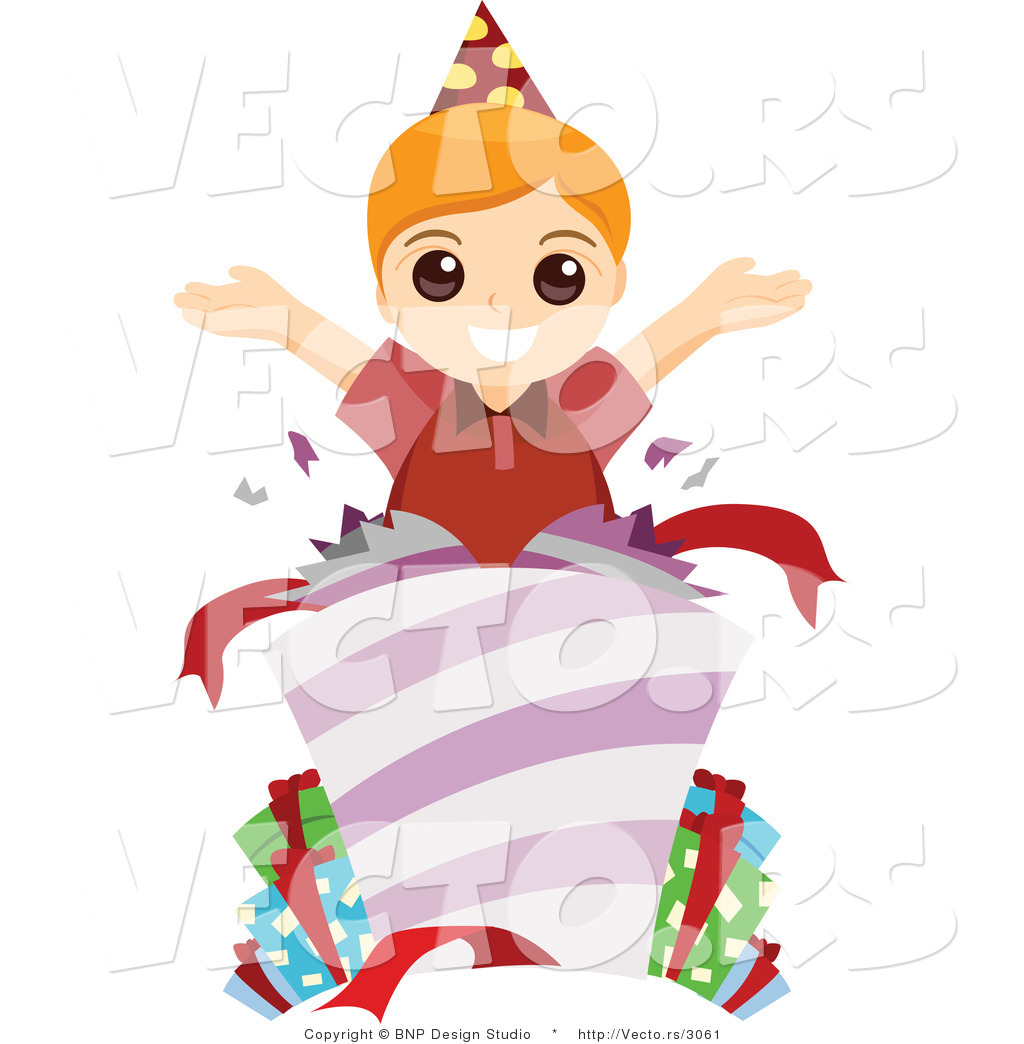 Vector Of Happy Birthday Boy Opening Presents By BNP
