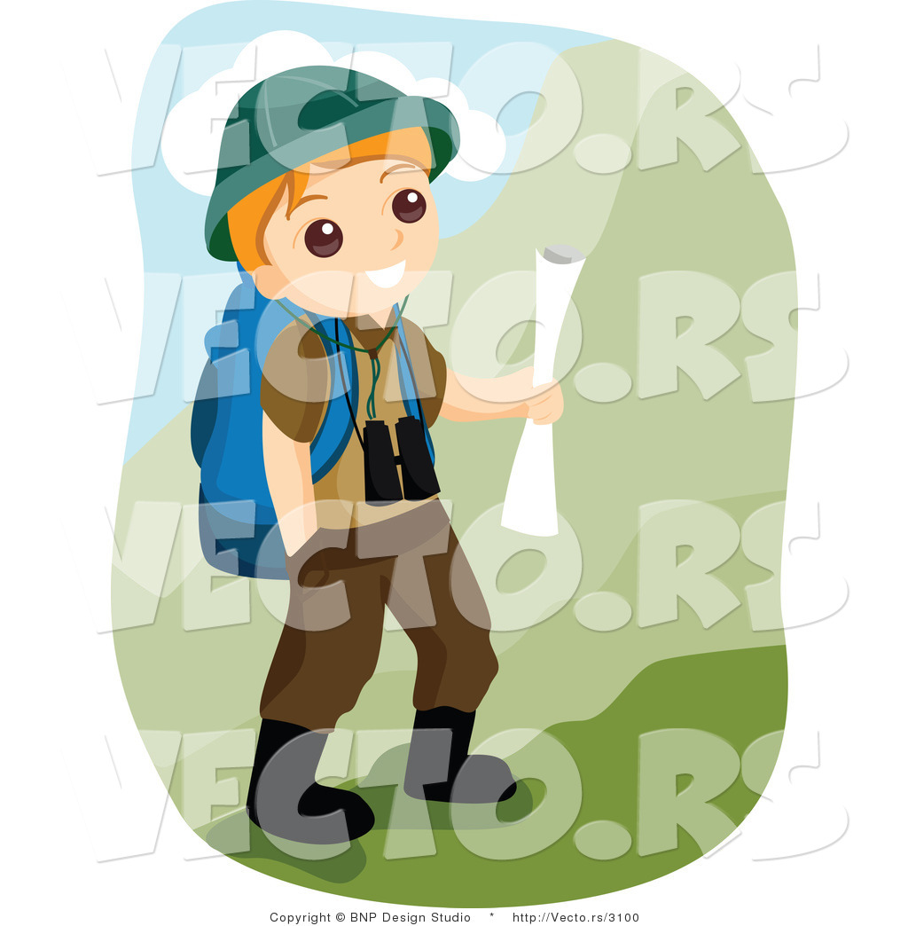 vector of happy boy scout hiking in the mountains by bnp