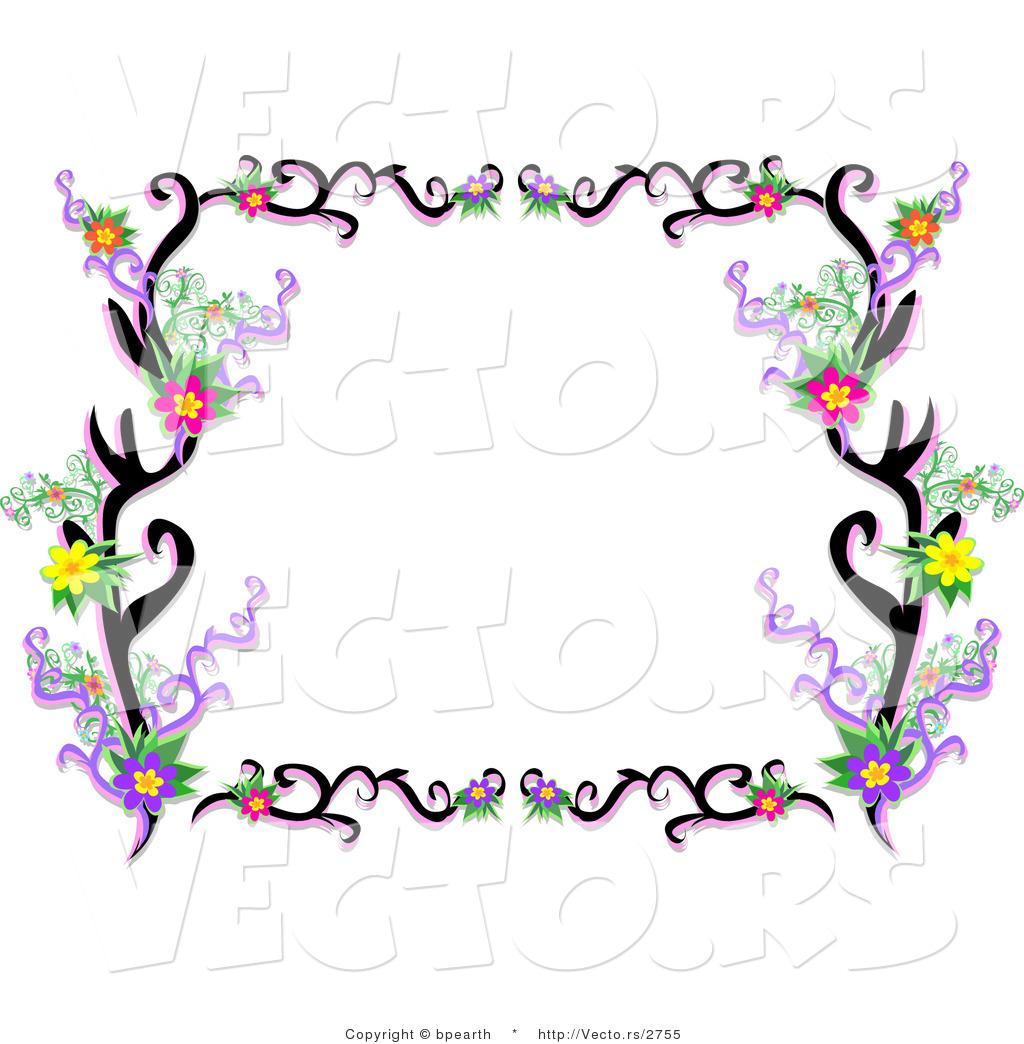 Vector of Lacy Black Floral Vines Border Frame