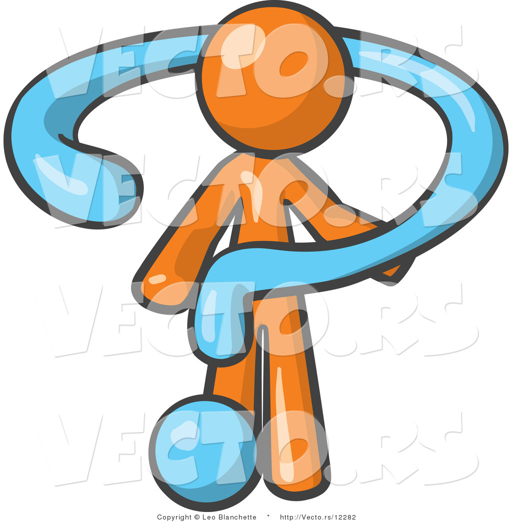 Vector of Orange Guy Draped in a Blue Question Mark by Leo ...