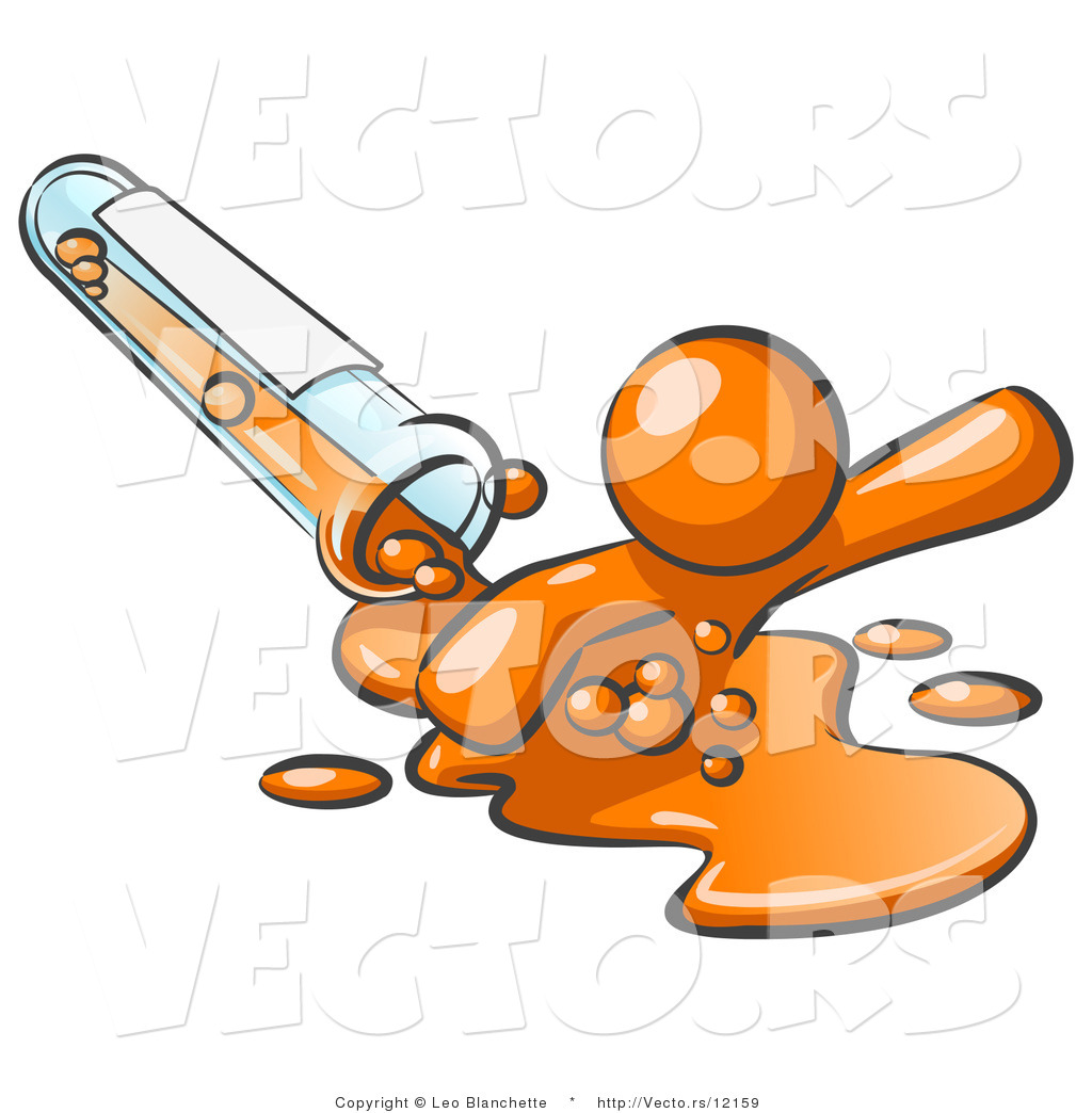 Orange Guy Emerging from Spilled Chemicals Pouring out of a Glass Test ...
