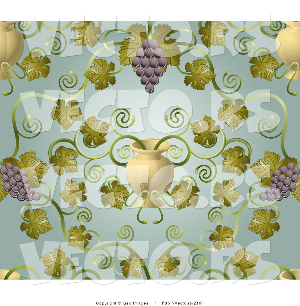 Vector of Ornate Purple Grape Vines with Urn Pattern Background by ...