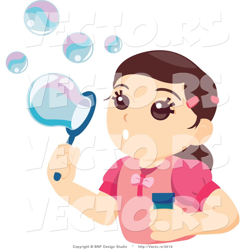 Blowing Soap Girl Blowing Soap Bubbles