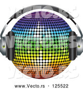 3d Vector of 3d Rainbow Colored Disco Ball Wearing Headphones by Elaineitalia