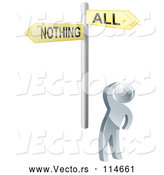 3d Vector of 3d Silver Guy Looking up at an All or Nothing Sign by AtStockIllustration