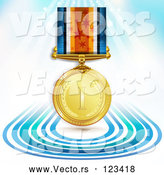 3d Vector of 3d Sports Achievement Gold First Place Award Medal on a Ribbon over Blue Lines and Rays by Merlinul