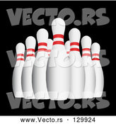 3d Vector of Bowling Pins over Black Background by KJ Pargeter