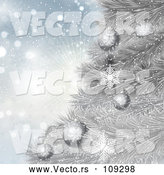 3d Vector of Christmas Background of 3d Baubles on a Silver Tree over Snowflakes and a Burst by KJ Pargeter