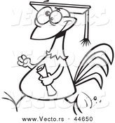 Cartoon Clip Art of a Chicken Graduate with a Cap and Diploma - Black Outline by Toonaday