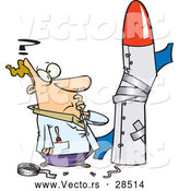 Cartoon of a Confused Man Trying to Build a Rocket by Toonaday