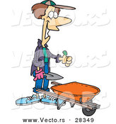 Cartoon of a Happy Gardener with a Green Thumb Standing Beside a Wheelbarrow by Toonaday