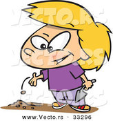 Cartoon of a Happy Girl Planting a Seed in Garden Soil by Toonaday