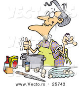 Cartoon of a Old Woman Baking by Toonaday
