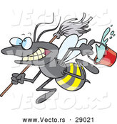 Cartoon of a Vector Busy Janitorial Bee with a Mop and Bucket by Ron Leishman