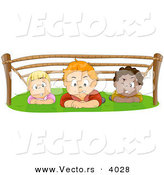 Cartoon Vector of 3 Children Crawling Under Ropes - Boot Camp Training for Kids by BNP Design Studio