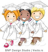 Cartoon Vector of 3 Diverse Graduate Kids Walking in Single File Line with Big Smiles by BNP Design Studio