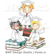 Cartoon Vector of 3 Graduating Kids Waving Goodbye While Sitting on Books by BNP Design Studio