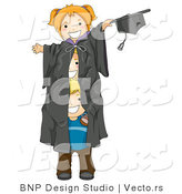 Cartoon Vector of 3 Playful Kids Within Giant Graduation Gown by BNP Design Studio