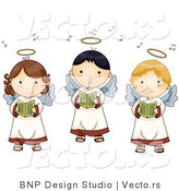 Cartoon Vector of 3 Singing Angel Boys and Girls by BNP Design Studio