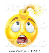Cartoon Vector of 3d Scared Yellow Male Smiley Emoji Emoticon Face Bomb by AtStockIllustration