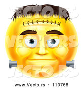 Cartoon Vector of 3d Yellow Frankenstein Smiley Emoji Emoticon Face by AtStockIllustration
