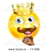 Cartoon Vector of 3d Yellow Smiley Emoji Emoticon Face King Wearing a Crown by AtStockIllustration