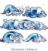 Cartoon Vector of 5 Unique Blue Ocean Wave Borders and Design Elements by Chromaco