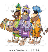 Cartoon Vector of a 3 Wise Men Wearing Shades and Riding Camels by Toonaday