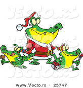 Cartoon Vector of a Alligator Santa with His Family of Baby Gators by Ron Leishman