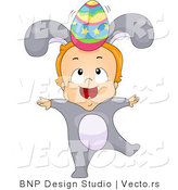 Cartoon Vector of a Baby Boy Wearing Bunny Costume While Balancing an Easter Egg on His Head by BNP Design Studio
