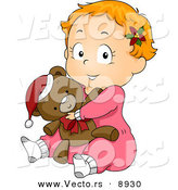 Cartoon Vector of a Baby in Pjs Hugging a Teddy Bear on Christmas by BNP Design Studio
