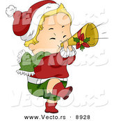 Cartoon Vector of a Baby Playing a Trumpet for Christmas by BNP Design Studio