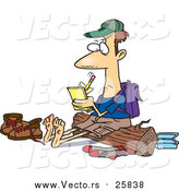 Cartoon Vector of a Barefoot Hiker with Blisters on His Feet, Writing in His Journal by Toonaday