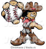 Cartoon Vector of a Baseball Cowboy Kid Mascot with Ball and Bat by Chromaco
