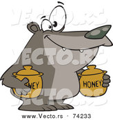 Cartoon Vector of a Bear Carrying Honey Jars by Toonaday