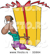 Cartoon Vector of a Black Man Carrying a Giant Present by Toonaday