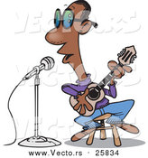 October 18th, 2017: Cartoon Vector of a Black Man Singing the Blues by Toonaday