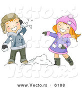 Cartoon Vector of a Boy and Girl Throwing Snow Balls at Each Other by BNP Design Studio
