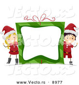 Cartoon Vector of a Boy and Girl Waving Around a Gift Frame with Blank Copyspace on Christmas by BNP Design Studio