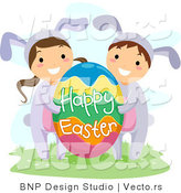 Cartoon Vector of a Boy and Girl with Big Happy Easter Egg by BNP Design Studio