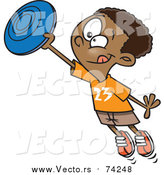 Cartoon Vector of a Boy Catching a Frisbee by Toonaday