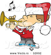Cartoon Vector of a Boy Playing Christmas Tunes with Trumpet by Toonaday