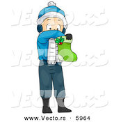 Cartoon Vector of a Boy Reaching in a Stocking on Christmas by BNP Design Studio