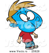 Cartoon Vector of a Boy Turning Blue While Holding His Breath by Toonaday