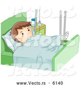 Cartoon Vector of a Boy with a Broken Leg Propped up in a Hospital Bed by BNP Design Studio