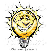Cartoon Vector of a Bright Cartoon Lightbulb Mascot Smiling by Chromaco