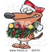 Cartoon Vector of a Brown Dog Wearing Santa Hat and Grinning with Christmas Wreath Around His Neck by Toonaday