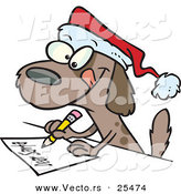 Cartoon Vector of a Brown Dog Writing Letter to Santa by Toonaday