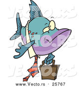 Cartoon Vector of a Business Fish Carrying a Briefcase by Toonaday